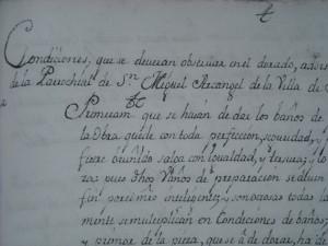 Original del documento de las condiciones que presenta el pintor Pedro Antonio de Rada.