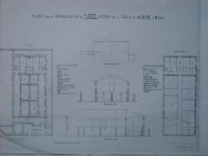 Plano presentado para la nueva construcción de la cárcel quemada por los carlistas
