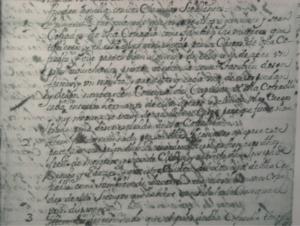 Parte del documento original de las cláusulas de la creación de la Cofradía de San Babil