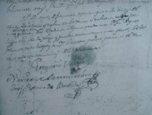 Final del acta notarial sobre festejos que redacta el escribano Arrayago en la Villa de Aoiz