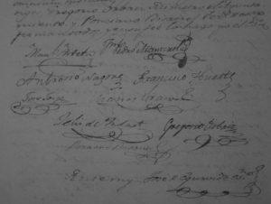 Firmas de los representantes del Ayuntamiento, y del responsable de la Compañía de Irati